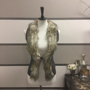 GUESS Fur Trim Sweater Vest